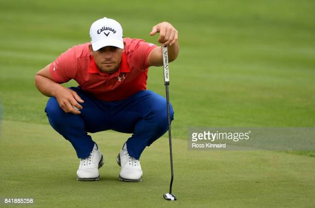 Haydn Porteous of South Africa on the 10th green during the third round of the DD REAL Czech Masters at Albatross Golf Resort on September 2 2017 in...