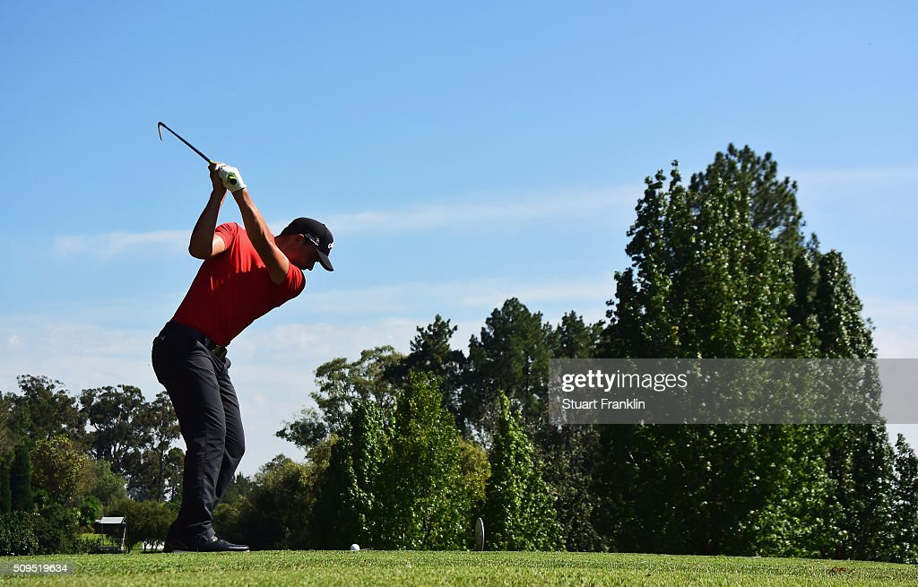 Haydn Porteous of South Africa plays a shot during the first round of the Tshwane Open at Pretoria Country Club on February 11, 2016 in Pretoria, South Africa.