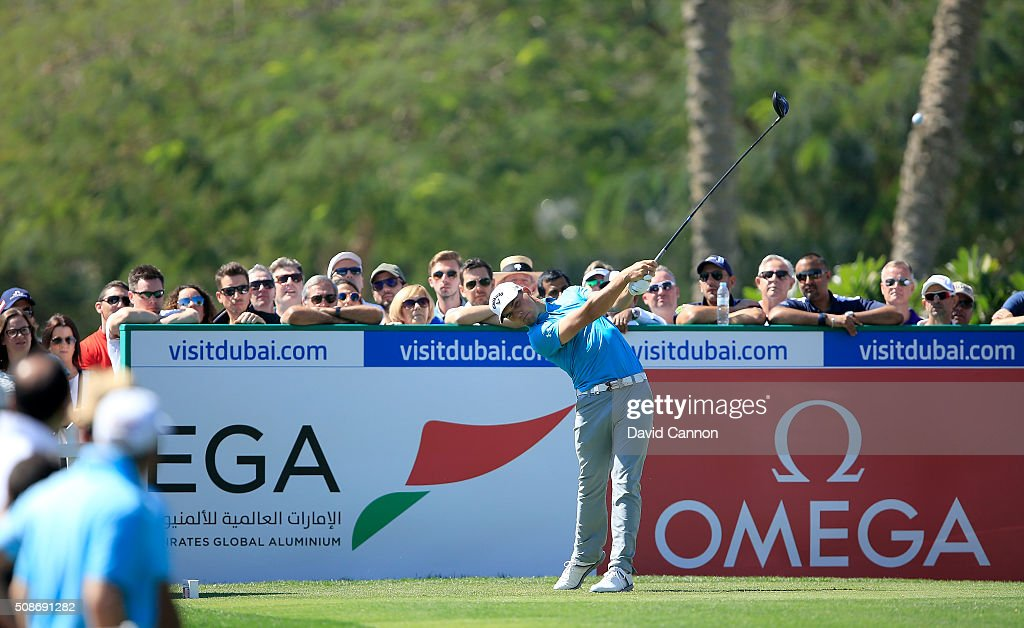 Haydn Porteous of South Africa plays his tee shot at the par 4, first hole during the third round of the 2016 Omega Dubai Desert Classic on the Majlis Course at the Emirates Golf Club on February 6, 2016 in Dubai, United Arab Emirates.