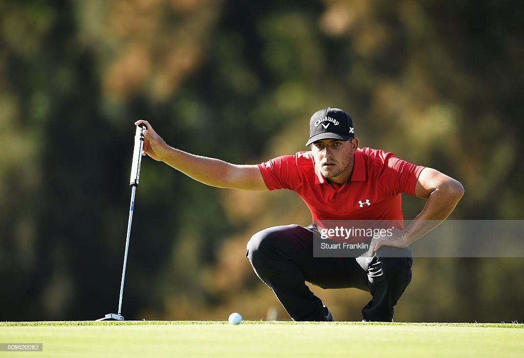 Haydn Porteous of South Africa ponders a shot during the first round of the Tshwane Open at Pretoria Country Club on February 11, 2016 in Pretoria, South Africa.