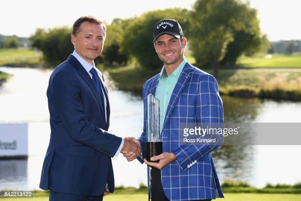 Haydn Porteous of South Africa poses with the trophy alongside Petr Dedek after the final round on day four of the DD REAL Czech Masters at Albatross...