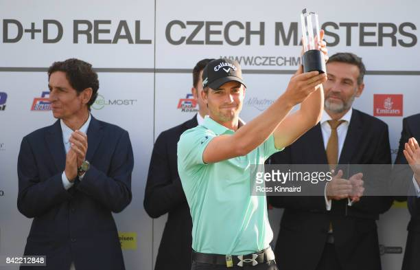 Haydn Porteous of South Africa poses with the trophy as he celebrates victory after the final round on day four of the DD REAL Czech Masters at...