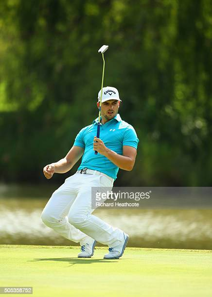 Haydn Porteous of South Africa reacts to a missed birdie putt on the 15th green on the East Course during day four and the final round of the Joburg...