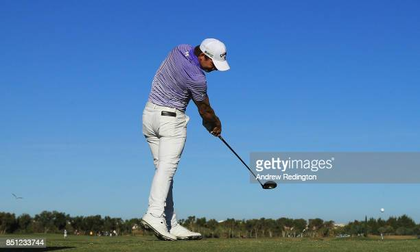Haydn Porteous of South Africa tees off on the 11th hole during day two of the Portugal Masters at Dom Pedro Victoria Golf Club on September 22 2017...