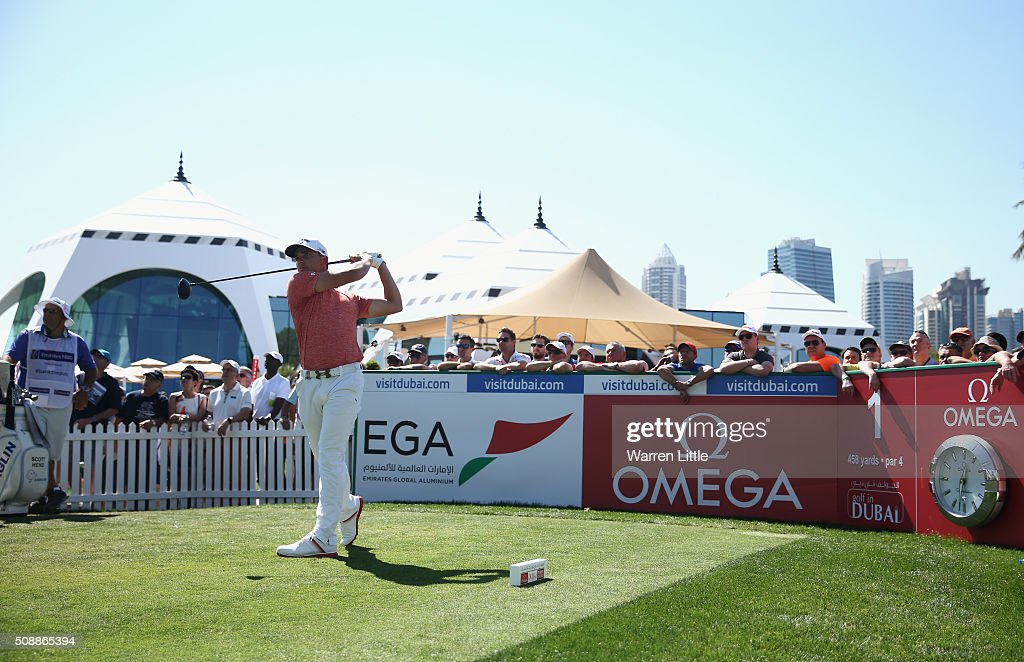 Haydn Porteous of South Africa tees off on the 1st hole during the final round of the Omega Dubai Desert Classic at the Emirates Golf Club on February 7, 2016 in Dubai, United Arab Emirates.
