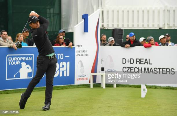 Haydn Porteous of South Africa tees off on the 1st hole during the final round on day four of the DD REAL Czech Masters at Albatross Golf Resort on...