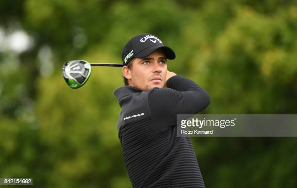 Haydn Porteous of South Africa tees off on the 5th hole during the final round on day four of the DD REAL Czech Masters at Albatross Golf Resort on...