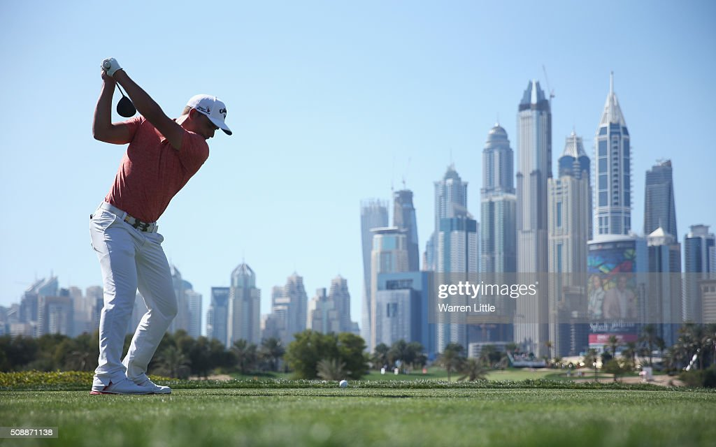 Haydn Porteous of South Africa tees off on the 8th hole during the final round of the Omega Dubai Desert Classic at the Emirates Golf Club on February 7, 2016 in Dubai, United Arab Emirates.