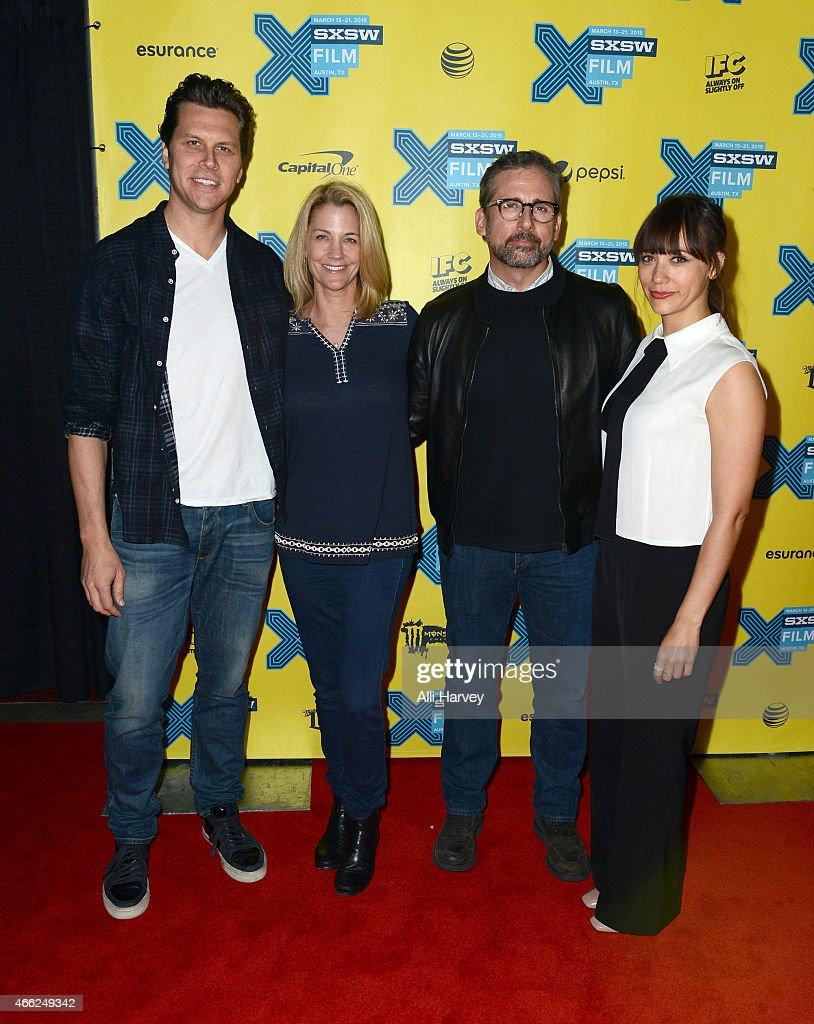 Hayes MacArthur Nancy Carell Steve Carell and Rashida Jones attend the TBS 'Angie Tribeca' Premiere at SXSW at Austin Convention Center on March 14...