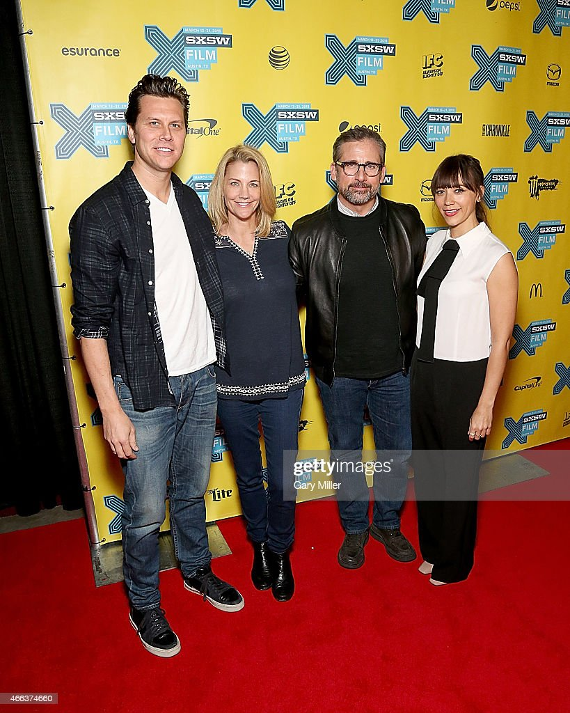 Hayes MacArthur Nancy Carell Steve Carell and Rashida Jones pose on the red carpet for a screening of 'Angie Tribeca' at the Vimeo Theater during the...
