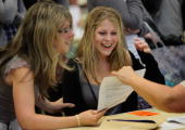 Hayesfield sixth form pupil Layla Hardin and her mother Ann react as she is shown her results of three A grades at Alevel at Hayesfield Girls School...