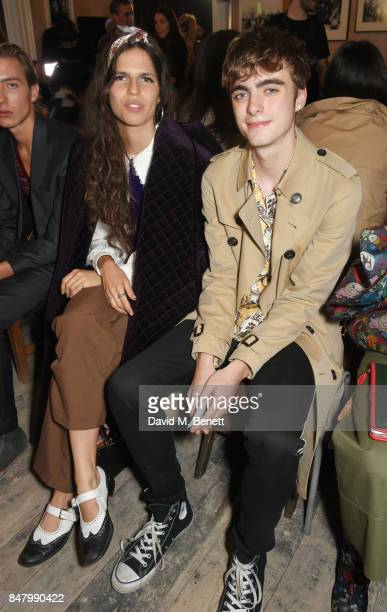 Hayett McCarthy and Lennon Gallagher wearing Burberry at the Burberry September 2017 at London Fashion Week at The Old Sessions House on September 16...
