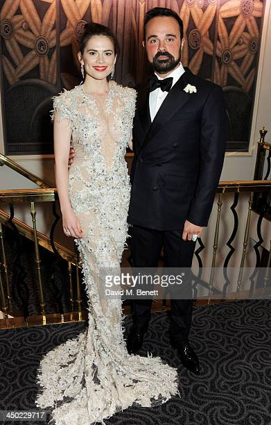 Hayley Atwell and owner of the London Evening Standard Evgeny Lebedev attend a drinks reception at the 59th London Evening Standard Theatre Awards at...