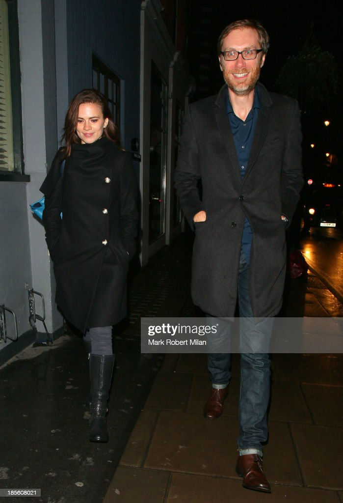 Hayley Atwell and Stephen Merchant at the Groucho club on October 22, 2013 in London, England.