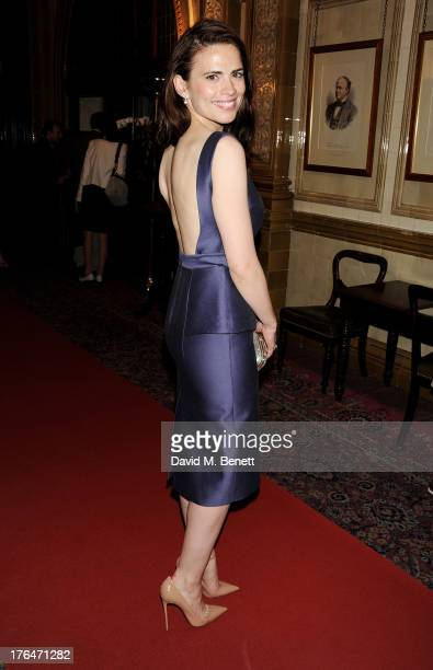 Hayley Atwell attends an after party following the press night performance of 'The Pride' at The Royal Horseguards on August 13 2013 in London England