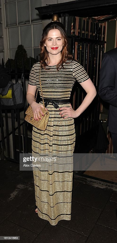 <a gi-track='captionPersonalityLinkClicked' href=/galleries/search?phrase=Hayley+Atwell&family=editorial&specificpeople=2331262 ng-click='$event.stopPropagation()'>Hayley Atwell</a> attends Annabel's pre-BAFTA party on February 9, 2013 in London, England.