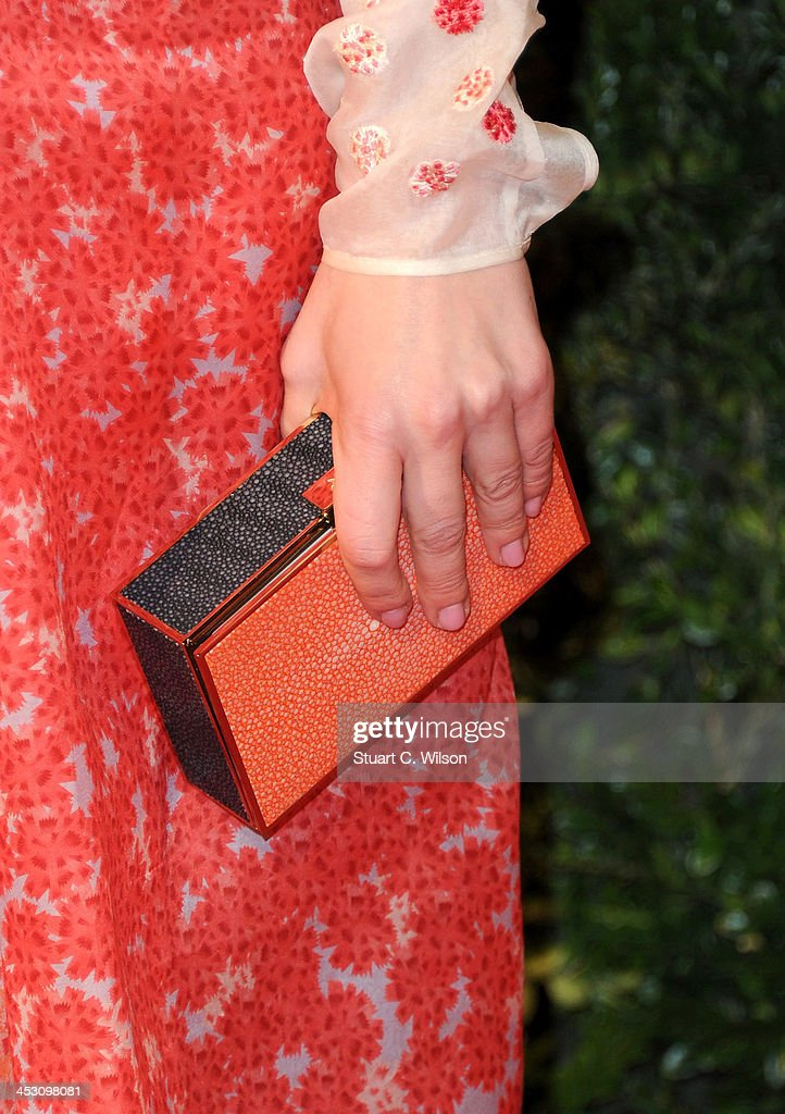 Hayley Atwell (bag detail) attends the British Fashion Awards 2013 at London Coliseum on December 2, 2013 in London, England.