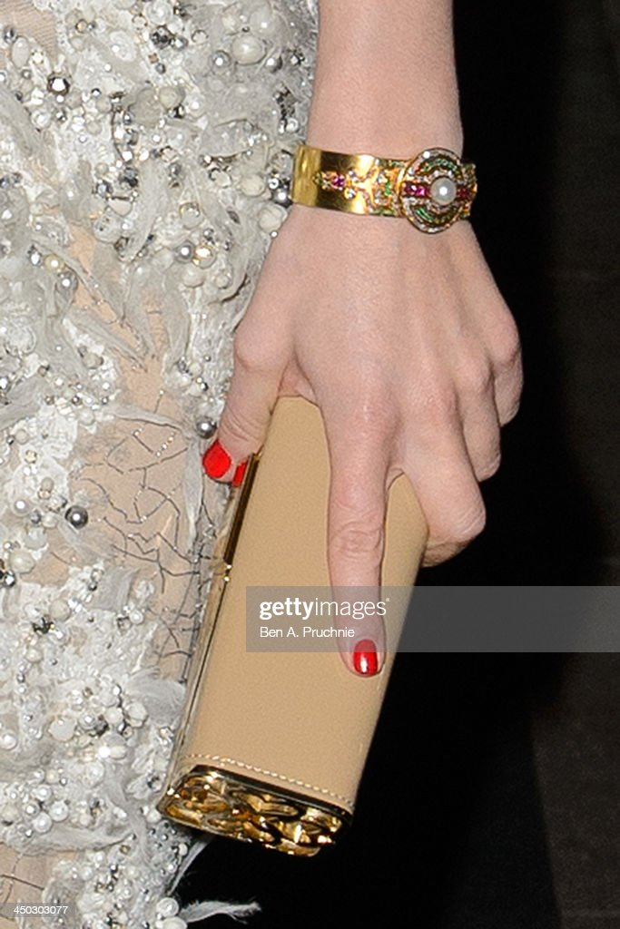 Hayley Atwell (purse and jewelry detail) attends the Evening Standard Theatre Awards at The Savoy Hotel on November 17, 2013 in London, England.