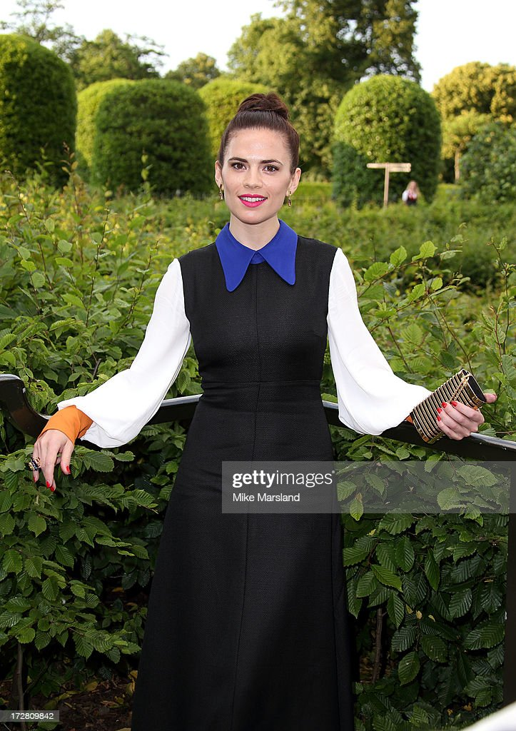 <a gi-track='captionPersonalityLinkClicked' href=/galleries/search?phrase=Hayley+Atwell&family=editorial&specificpeople=2331262 ng-click='$event.stopPropagation()'>Hayley Atwell</a> attends the launch party for the Fashion Rules exhibition, a collection of dresses worn by HRH Queen Elizabeth II, Princess Margaret and Diana, Princess of Wales at Kensington Palace on July 4, 2013 in London, England.