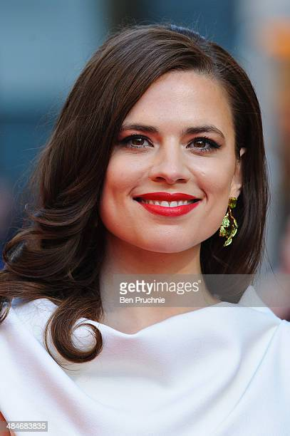 Hayley Atwell attends the Laurence Olivier Awards at The Royal Opera House on April 13 2014 in London England