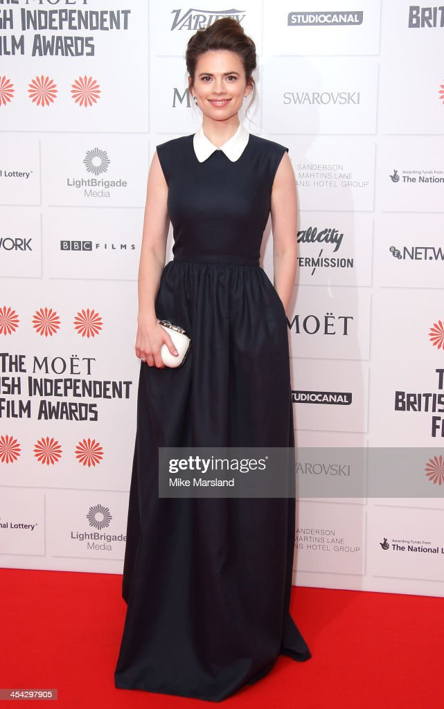 <a gi-track='captionPersonalityLinkClicked' href=/galleries/search?phrase=Hayley+Atwell&family=editorial&specificpeople=2331262 ng-click='$event.stopPropagation()'>Hayley Atwell</a> attends the Moet British Independent Film Awards at Old Billingsgate Market on December 8, 2013 in London, England.