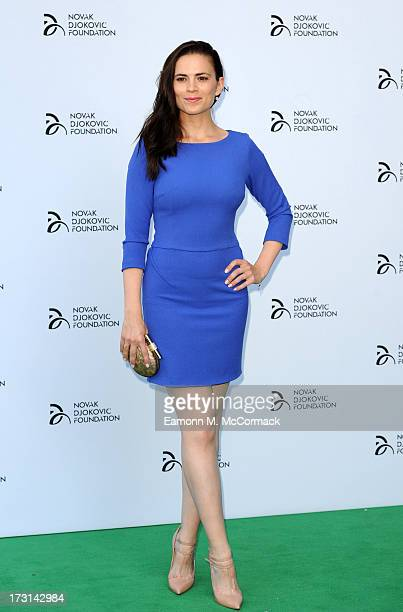 Hayley Atwell attends the Novak Djokovic Foundation London gala dinner at The Roundhouse on July 8 2013 in London England