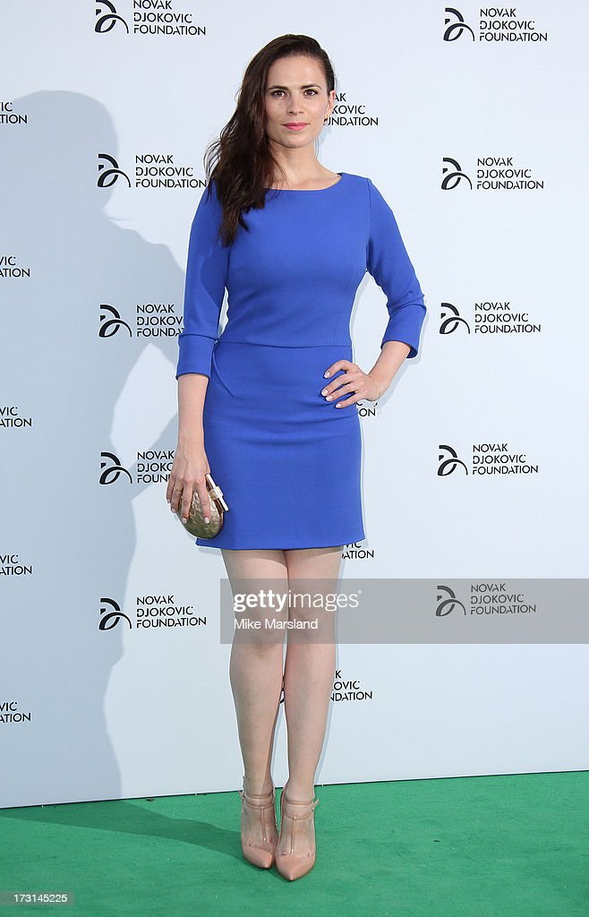 <a gi-track='captionPersonalityLinkClicked' href=/galleries/search?phrase=Hayley+Atwell&family=editorial&specificpeople=2331262 ng-click='$event.stopPropagation()'>Hayley Atwell</a> attends the Novak Djokovic Foundation London gala dinner at The Roundhouse on July 8, 2013 in London, England.
