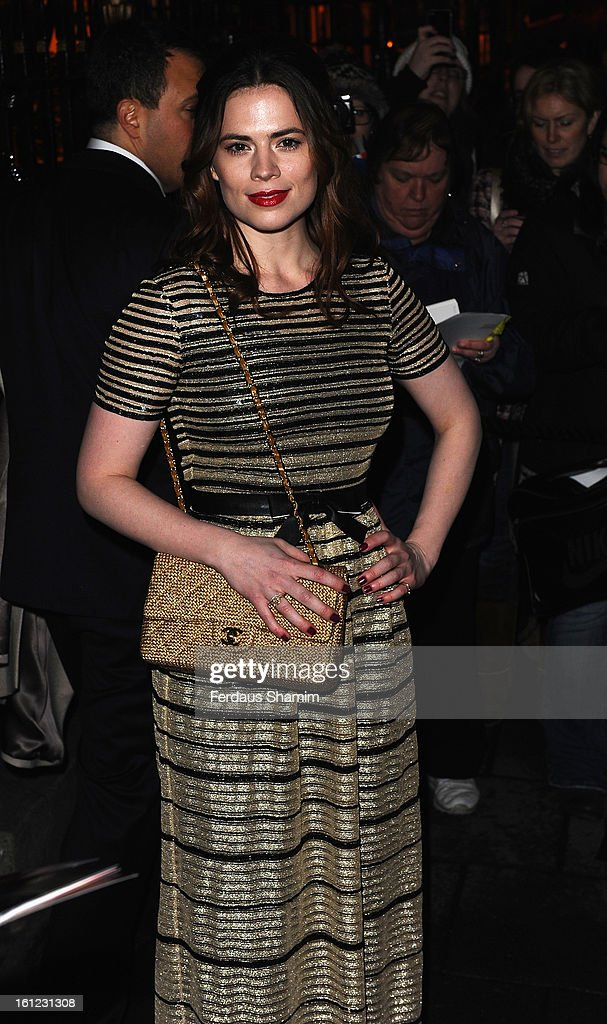 <a gi-track='captionPersonalityLinkClicked' href=/galleries/search?phrase=Hayley+Atwell&family=editorial&specificpeople=2331262 ng-click='$event.stopPropagation()'>Hayley Atwell</a> attends the pre-BAFTA dinner hosted by Charles Finch and Chanel at Annabels on February 9, 2013 in London, England.