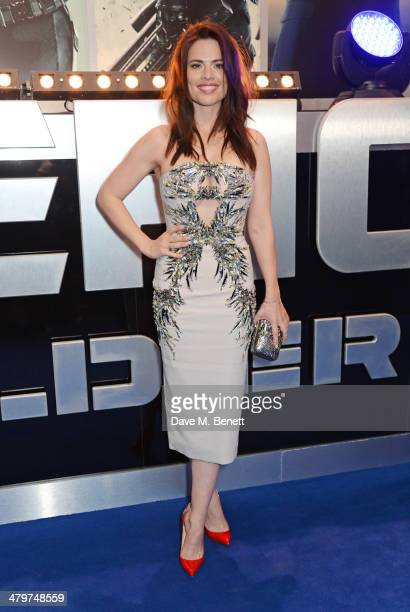 Hayley Atwell attends the UK Film Premiere of 'Captain America The Winter Soldier' at Westfield London on March 20 2014 in London England