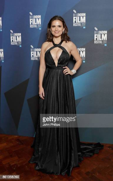 Hayley Atwell poses in the winners room at the 61st BFI London Film Festival Awards on October 14 2017 in London England