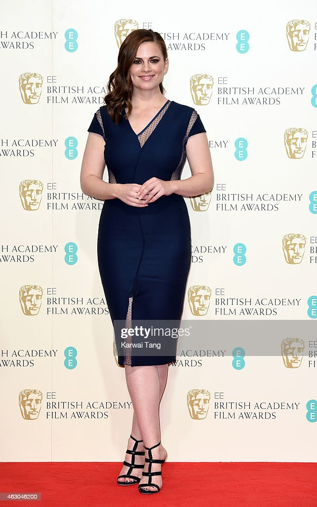 Hayley Atwell poses in the winners room at the EE British Academy Film Awards at The Royal Opera House on February 8, 2015 in London, England.