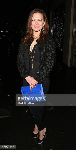 Hayley Atwell sighted at the Storm model agency party during London Fashion Week on February 17 2014 in London England