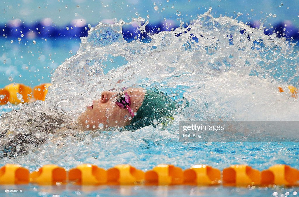 Hayley Baker of Australia competes in the Women's 100m backstroke final during day two of the 2013 Australian Youth Olympic Festival at Sydney Olympic Park Aquatic Centre on January 17, 2013 in Sydney, Australia.