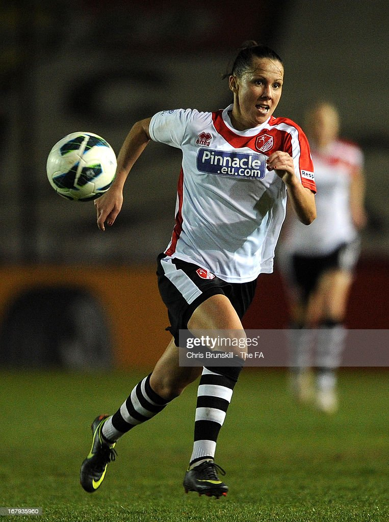 Hayley Bowden of Lincoln Ladies in action during the The FA WSL Continental Cup match between Lincoln Ladies and Arsenal Ladies at Sincil Bank Stadium on May 2, 2013 in Lincoln, England.