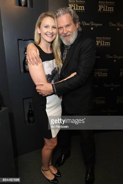 Hayley Bridges and Actor Jeff Bridges visits the Dom Perignon Lounge at The Santa Barbara International Film Festival on February 9 2017 in Santa...