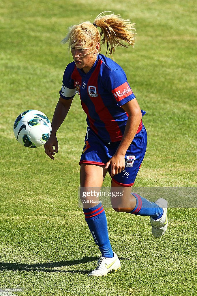 Hayley Crawford of the Jets controls the ball during the round 11 W-League match between the Perth Glory and the Newcastle Jets at Intiga Stadium on January 5, 2013 in Perth, Australia.