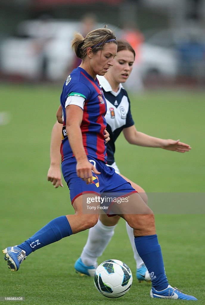 Hayley Crawford of the Newcastle Jets controls the ball during the round 12 W-League match between the Newcastle Jets and the Melbourne Victory at Wanderers Oval on January 13, 2013 in Newcastle, Australia.