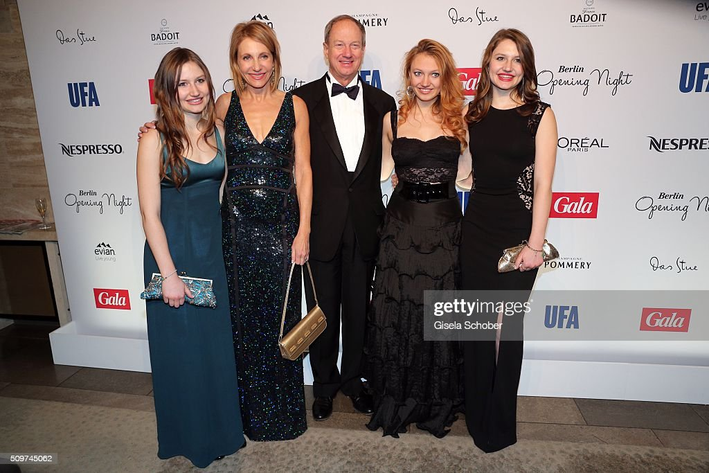 Hayley Emerson, Kimberly Marteau Emerson, US Ambassador to Germany John B. Emerson, Jacqueline Emerson and Taylor Emerson during the 'Berlin Opening Night of GALA & UFA Fiction' at Das Stue Hotel on February 11, 2016 in Berlin, Germany.