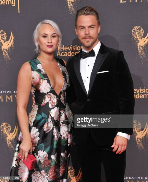 Hayley Erbert and Derek Hough arrive at the 2017 Creative Arts Emmy Awards Day 1 at Microsoft Theater on September 9 2017 in Los Angeles California
