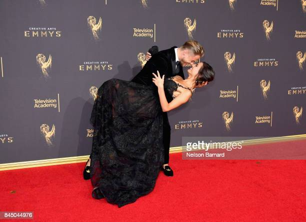 Hayley Erbert and Derek Hough attend day 1 of the 2017 Creative Arts Emmy Awards at Microsoft Theater on September 9 2017 in Los Angeles California