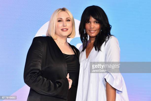 Hayley Hasselhoff and POPSUGAR lead editor Brittney Stephens attends POPSUGAR 2017 Digital NewFront at Industria Studios on May 3 2017 in New York...