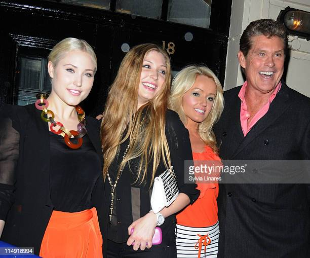 Hayley Hasselhoff Taylor Ann Hasselhoff Hayley Roberts and David Hasselhoff leaving The Royal Haymarket Theatre on May 28 2011 in London England