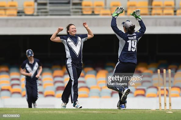 Hayley Jensen of the Spirit celebrates thw wickt of Corinne Hall of the Roar during the round one WNCL match between Victoria and Tasmania at Allan...