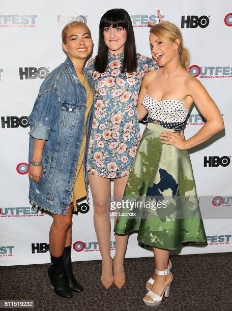 Hayley Kiyoko Lena Hall and Mena Suvari attend the 2017 Outfest Los Angeles LGBT Film Festival Centerpiece Screening Of 'Becks' on July 09 2017 in...