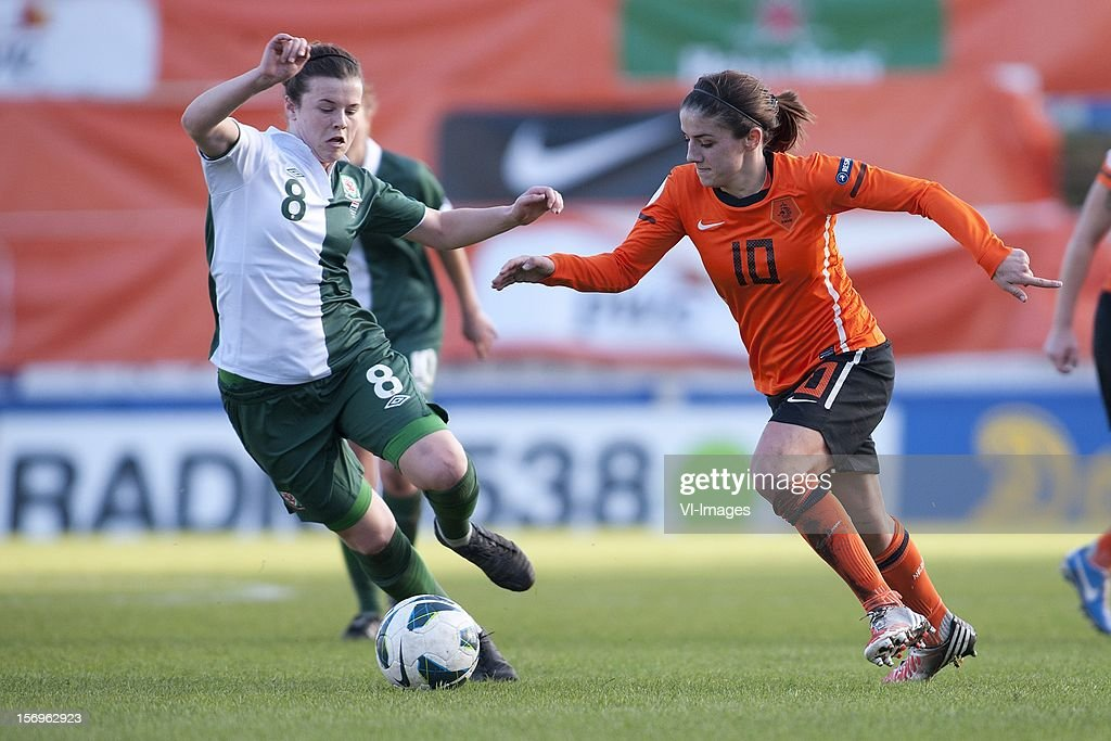Hayley Ladd of Wales, Daniëlle van de Donk of Holland during the Women's international friendly match between Netherlands and Wales, at Tata steel stadium on November 25, 2012 in Velzen-Zuid, Netherlands.