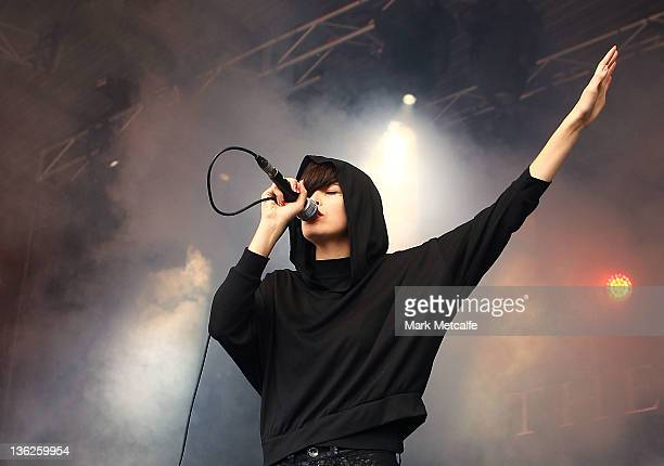 Hayley Mary of The Jezabels performs on stage on day two of the Falls Music Festival on December 30 2011 in Lorne Australia