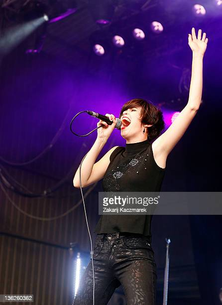 Hayley Mary of the The Jezabels performs on stage on day two of the Falls Music Festival on December 30 2011 in Lorne Australia