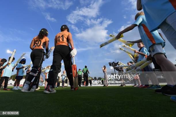 Hayley Matthews and Suzie Bates of Southern Vipers comes out to the field prior to the Women's Kia Super League Final between Southern Vipers and...