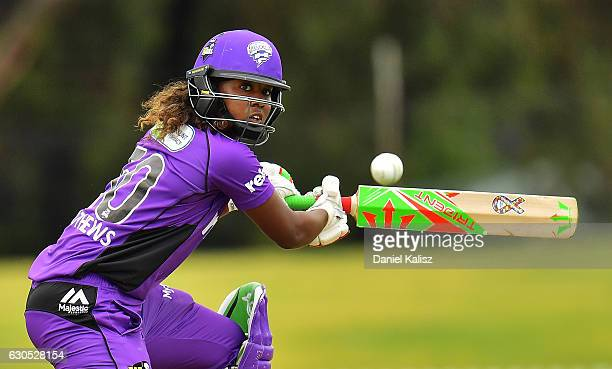Hayley Matthews of the Hobart Hurricanes bats during the WBBL match between the Adelaide Strikers and the Hobart Hurricanes at Gliderol Stadium on...
