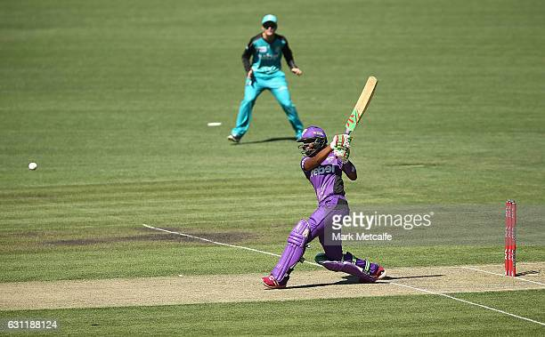 Hayley Matthews of the Hurricances bats during the Women's Big Bash League match between the Hobart Hurricanes and the Brisbane Heat at Blundstone...